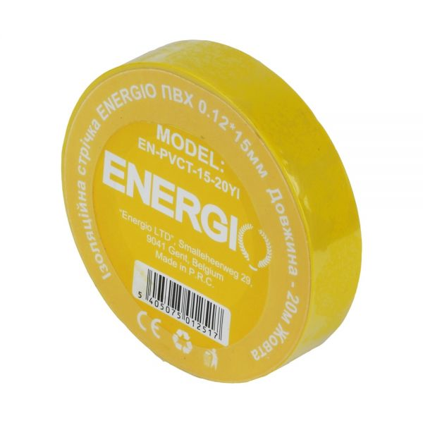 Изоляционная лента ENERGIO ПВХ 0.12*15мм 20м желтая